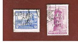 CILE (CHILE)  -   TAX STAMPS SG T638.639  -    1970 2 STAMPS OVERPRINTED    -     USED ° - Cile