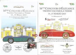 Sassuolo, 15.3.2015, Menu Cena Di Gala Trofeo Auto D'epoca Salvarola Terme. Annullo Figurato Su Francobollo In Tema. - Alimentazione