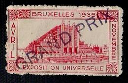 BELGIQUE - VIGNETTE - EXPOSITION UNIVERSELLE - BRUXLLES 1935 - GRAND PRIX. - 1935 – Bruselas (Bélgica)