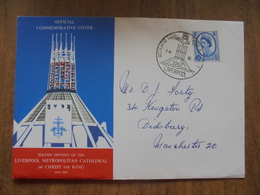 S007: FDC: Solemn Opening Of The LIVERPOOL METROPOLITAN CATHEDRAL Of CHRIST THE KING May 1967. 4d Stamp Liverpool - FDC