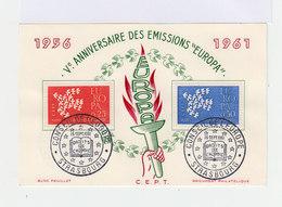 Bloc Feuillet 5ème Anniversaire émissions Europa 1956 1961. Cachets Conseil De L'Europe Strasbourg. (658) - Blocs & Feuillets