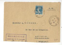 BELGIQUE FRANCE SEMEUSE TRESOR ET POSTES 1919 MISSION MILITAIRE BELGE AUPRES DU G.Q.G. AMERICAIN USA /FREE SHIPPING R - Marcophilie (Lettres)