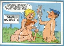 Carte Postale Illustrateur Alexandre  Humour Sexy Au Club Naturiste Très Beau Plan - Alexandre