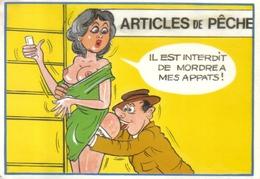 Carte Postale Illustrateur Alexandre  Humour Sexy Articles De Pêche Très Beau Plan - Alexandre
