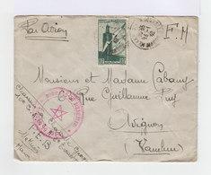 Sur Enveloppe Par Avion Et FM. 80 C Vert Poste Aérienne Oblitéré 1942. (663) - Maroc (1891-1956)