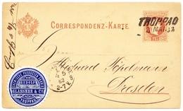1882 2kr Österreichische Ganzsachenkarte Mit Vignette Chemische Produktenfabrik Von Troppau Nach Dresden - Ganzsachen