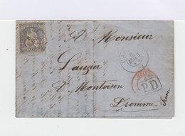 Sur Lettre Timbre Helvetia Assise 30 C. Outremer. CAD Carouge 1871. Cachet PD. (664) - Marcophilie