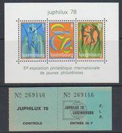 Luxemburg 1978 Juphilux M/s + Ticket ** Mnh (40516) - Blocs & Feuillets