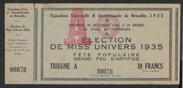 1935 Miss Universe Belgium - Billet D'entrée Non Utilisé - Rare - Tickets D'entrée