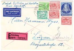 1954 Expressbrief Aus Berlin Nach Luzern Mit Freiheitsglocke 30pf Mit Zusatzfrankatur; Bedarfsspuren - BRD