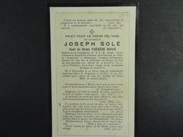 Joseph Solé Vf Bovie Bruxelles 1829 Ixelles 1907 /053/ - Images Religieuses