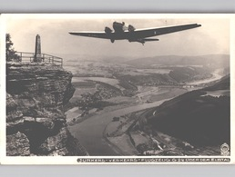 Junkers Verkehrs-Flugzeug G24 über Dem Elbtal Fotokarte Walter Hahn 49909 Dresden - 1919-1938