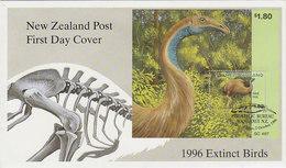 New Zealand 1996 Extict Birds  Miniature Sheet FDC - FDC