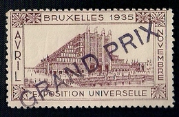BELGIQUE - VIGNETTE - EXPOSITION UNIVERSELLE - BRUXELLES 1935 - GRAND PRIX. - 1935 – Brüssel (Belgien)