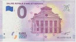 Billet Touristique 0 Euro Souvenir France 25 Saline Royale D'Arc Et Senans 2018-1 N°UEJU001028 - Essais Privés / Non-officiels
