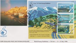 New Zealand 1998 Israel 98 World Stamp Exhibition ,miniature Sheet FDC - FDC