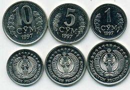 Uzbekistan Set 1  5 10 Som 1997 Unc - Uzbekistan