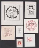 Germay 7 Exlibris VEB Kohlehandel Cottbus Hammer Und Schlägel, Wolfgang & Ingrid Böttcher, Geis Ziege Geisler - Ex Libris