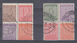 SBZ Herzstücke Zusammendrucke Westsachsen Wz. Y, (Hz 10-11 800,-) , Gestempelt Oschatz Land 28.1.49 - Zone Soviétique