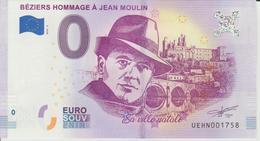 Billet Touristique 0 Euro Souvenir France 34 Béziers Hommage à Jean Moulin 2018-2 N°UEHN001758 - Essais Privés / Non-officiels