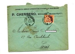 Lettre Cachet Convoyeur Mauleon à Puydo Sur Mouchon  Entete Fabrique Sandales - Storia Postale
