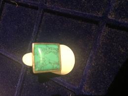 Fantastico Anello In Argento 925 Con Enorme Pietra Di Turchese Quadrata Fatto A Mano - Etnica