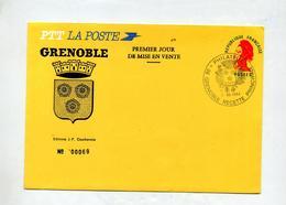 Lettre Gandon Cachet Grenoble Philatelie Illustré Armoirie - Entiers Postaux