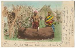 Fiji  Beating Drums Hand Colored . Edit J.W. Waters Suva. Stamped Fiji 1904 To Brioude Haute Loire France - Fidji