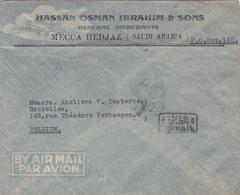 AIRMAIL Arabie Saoudite - Entête Pub :Hassan Osman Ibrahim & Sons - General Merchants Mecca Hedjaz - Mecque 1948 - Arabie Saoudite