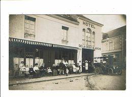 Cpa Carte Photo BESSE SUR BRAYE Hotel De La Croix Blanche Famille FOUGERAY à La Pose Savigny - France
