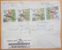 Syria 2016 CIVIL WAR Period Cover Registered ALEPPO Franked Football 17L X4 + Fish 15L X4 + Flowers 5L Undelivered - Syrie