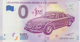 Billet Touristique 0 Euro Souvenir France 37 Les Autos Enjouées Joué Les Tours 2018-1 N°UEKS004861 - Essais Privés / Non-officiels