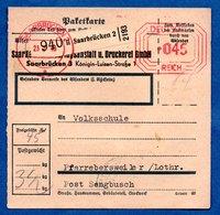 Colis Postal  - Départ Saarbrücken 2 -  23/2/1943 - Allemagne
