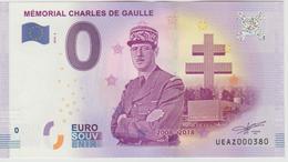 Billet Touristique 0 Euro Souvenir France 52 Mémorial Charles De Gaulle 2018-2 N°UEAZ000380 - EURO