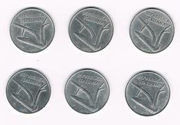 =&   ITALIE  6 X 10 LIRE  1952/53/54/55/56/67 - 10 Lire