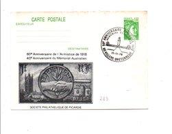 ENTIER SABINE REPIQUE MEMORIAL AUSTRALIEN VILLERS-BRETONNEUX 1978 - Cartes Postales Repiquages (avant 1995)