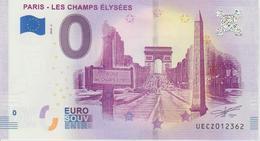 Billet Touristique 0 Euro Souvenir France 75 Paris Champs Elysées 2018-2 N°UECZ012362 - EURO