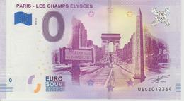 Billet Touristique 0 Euro Souvenir France 75 Paris Champs Elysées 2018-2 N°UECZ012364 - EURO