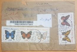 Syria 2016 CIVIL WAR PERIOD Cover Registered HAEFE Franked Butterflies  130L+ Tourism 25L Stamps = 155L, Undelivered - Syria