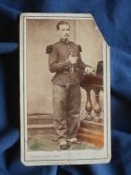 Photo Cdv Auberlique à Boulogne Sur Mer - Second Empire Militaire Chasseur à Pied  Vers 1860 L393 - Photos