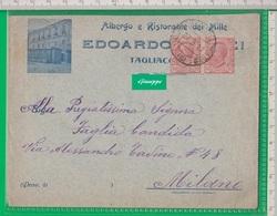 Cent. 10 + 10 Cent 20, Su Busta.  Tagliacozzo. Aquila.  Albergo Ristorante Dei Mille. - 1900-44 Vittorio Emanuele III