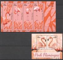 C125 2014 GUYANA FAUNA BIRDS PINK FLAMINGOS 1BL+1KB MNH - Flamingo