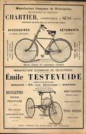 PUB 1891 - Vélocipèdes Rousseau Prado; Labeille Ch De Rome Marseille; Chartier à Sens 89; Testevuide Rue Devosge Dijon - Advertising