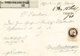 1864 5kr Stempelmarke Auf Vorderseite;gestempelt Feldkirchen;grüner Kleber Von Feldkirchen Nach Crailsheim;Gebrauchsspur - Briefe U. Dokumente