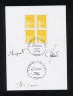 """CARTON 1ER JOUR BLOC DE 4 """"MARIANNE DE LUQUET A 0,01 EURO N° 3443 YVERT"""" -CACHET 1ER JOUR PARIS 1/01/2002 - 3 SIGNATURES - 2000-2009"""
