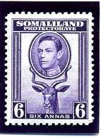 British Somaliland 1942 6 Annas Definitive, Lightly Hinged Mint, SG 110 (BA) - Somaliland (Protectorate ...-1959)