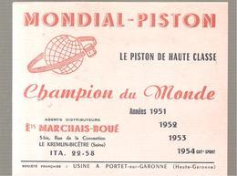 Buvard MONDIAL PISTON LE PISTON DE HAUTE CLASSE Champion Du Monde Ets MARCHAIS-BOUE - Automotive