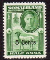 British Somaliland 1951 Definitive Surcharges 5c On Half Anna Value, MNH, SG 125 (BA) - Somaliland (Protectorate ...-1959)
