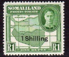 British Somaliland 1951 Definitive Surcharges 1 Shilling On 1 Rupee Value, MNH, SG 132 (BA) - Somaliland (Protectorate ...-1959)