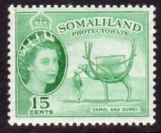 British Somaliland 1953-8 15c Camel & Gurgi Value, MNH, SG 139 (BA) - Somaliland (Protectorate ...-1959)